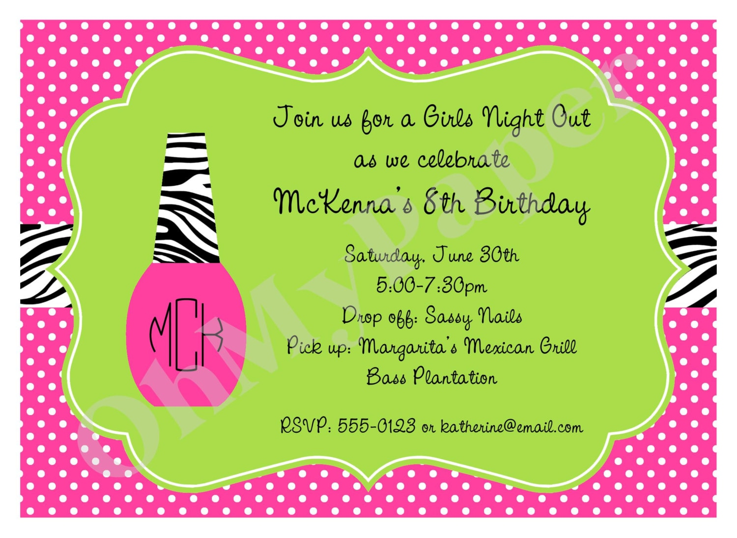 Girls Manicure Party Invitations