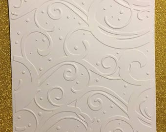 card with embossed embossed Arabesque for scrapbooking