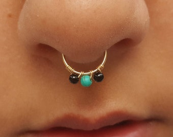 Onyx Septum Fake ,gold fake septum,turquoise fake septum,tiny fake septum,fake septum24G,fake septum jewelry,piercing septum,clip on septum