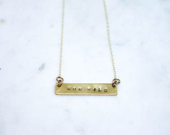 Bar necklace with customized words - Handstamped Jewelry