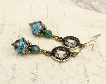 Blue Earrings, Blue Gold Earrings, Blue Vintage Earrings, Vintage Look Earrings, Czech Glass Beads, Unique Earrings, Victorian Earrrings