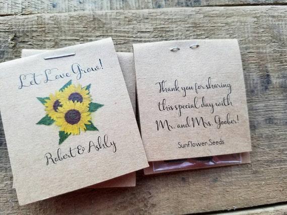 Wedding Favors Bridal Shower Favors Sunflowers MINI Seeds Let