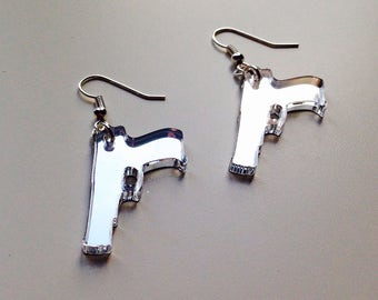 Gun | Revolver | Walking Dead | Emo | Mirrored | Silver | Laser Cut | Acrylic | Earrings
