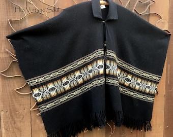 Vintage 1970's Black Ethnic Poncho, Ethnic, Bohemian, Hippie, Gypsy