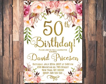 50th Birthday Invitation for women 50th Birthday Invitation