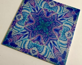 Sea Shell Bathroom Tile - Ceramic Wall Tile  - Kaleidoscope Blue Green Pink & Purple Spiral Shells - Coffee Mug Tile Coaster - Kitchen Tile