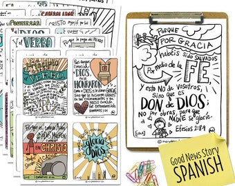 Printable Digital Download   Good News Story Scripture Bible Verse Cards and Coloring Pages in SPANISH   25 Cards + Coloring Pages   LBLA