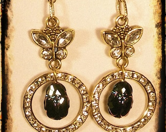 Swarovski Crystal Scarab Earrings