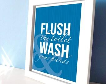 Blue Bathroom Wall Art - Flush Toilet & Wash Your Hands Bathroom Prints - Bath Decor - Wash your Hands Signs - Blue Bath Art