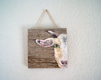 Goat Oil Painting on Repurposed Wood