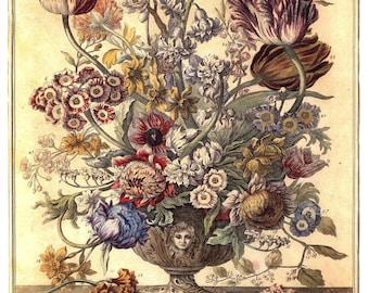 "April Flowers Art Print -12 MONTHS of FLOWERS- Winterthur Museum- 1700s Botanical Illustration- Wedding Anniversary New Baby Gift - 14 x 19"""