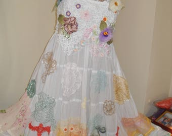 Unique bridal dress  cotton, hand-knit lace, silk flowers and chiffon