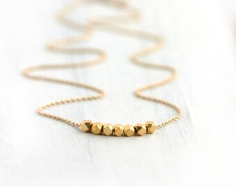 Gold Nuggets Necklace / Simple Minimalist Gold Jewelry / 24K Gold Vermeil Nugget on 14K Gold Filled Chain