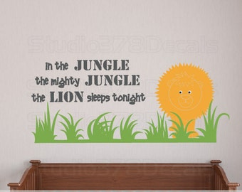 Lion Safari Nursery Wall Decal | In the Jungle Wall Decal | Safari Wall Decor | Baby Nursery Decor | Safari Animal Nursery | Kid Room Decal