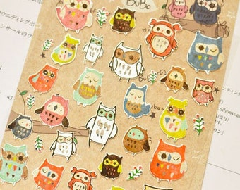 Cute Night Owl - Funny Sticker World - Paper Deco Sticker - 1 Sheet