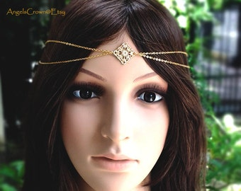 Blue wedding hair jewelry hair chain gypsy headband navy royal