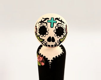 Sugar Skull Dia de los Muertos (Day of the Dead) Halloween Wooden Peg Doll / Peg People / Wooden Dowell Doll / Mexican Culture / Calavera