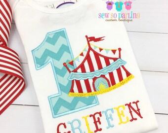 1st Birthday Circus Shirt - Circus Birthday Shirt - Baby Boy Circus Birthday Outfit - first Birthday shirt boy - boy circus shirt ANY AGE