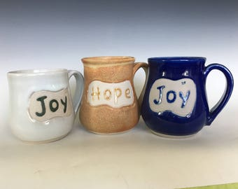 Trio of Inspirational Coffee Mugs/Hope and Joy