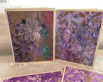 Handmade card Card Set,  greeting card, Inspire card, note card, mixed media card, OOAK Cards, Mono Printed note cards, Flower Cards