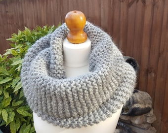 Super Chunky Alpaca & Wool Mix Snood, Single wrap neck warmer, grey colour knitted infinity scarf
