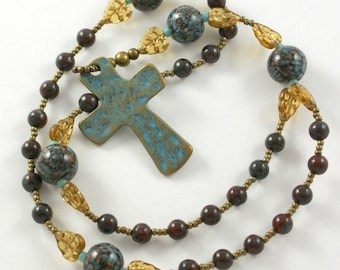 Handmade Anglican Rosary with Golden Leaves Lampwork and Jasper Stone Beads