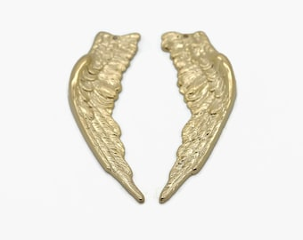 Large Gold Wings, Brass Findings, Gold Wing Pendants, 1 Pair