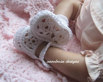 Crochet Pattern - CR58 Thread Crochet Christening Baby Shoes/Booties - Flower sole and Plain sole designs