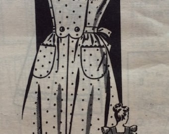 Vintage 40s Flounced Sleeve Pinafore Apron Frock Dress Sewing Pattern 8130 B30