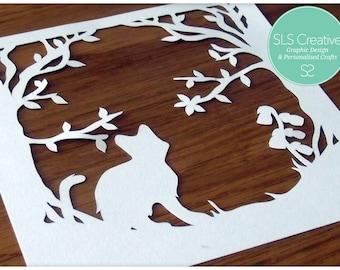 Bluebell Wood - Timothy Kitten - Paper Cut / Papercut Template - DIGITAL DOWNLOAD - SLS Creative