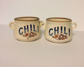 Set of Two 1970s Stoneware Crocks For Chili Soup Stew Ceramic Oven Safe Oven To Table