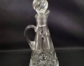 Tall Tapered  Crystal Vinegar Oil Cruet with Swirled Stopper, Hand Blown into Mold Stopper with Pontil, Vintage Glass
