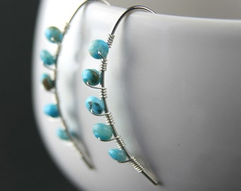 Turquoise Wrapped Sterling Silver Mini Curve Earrings
