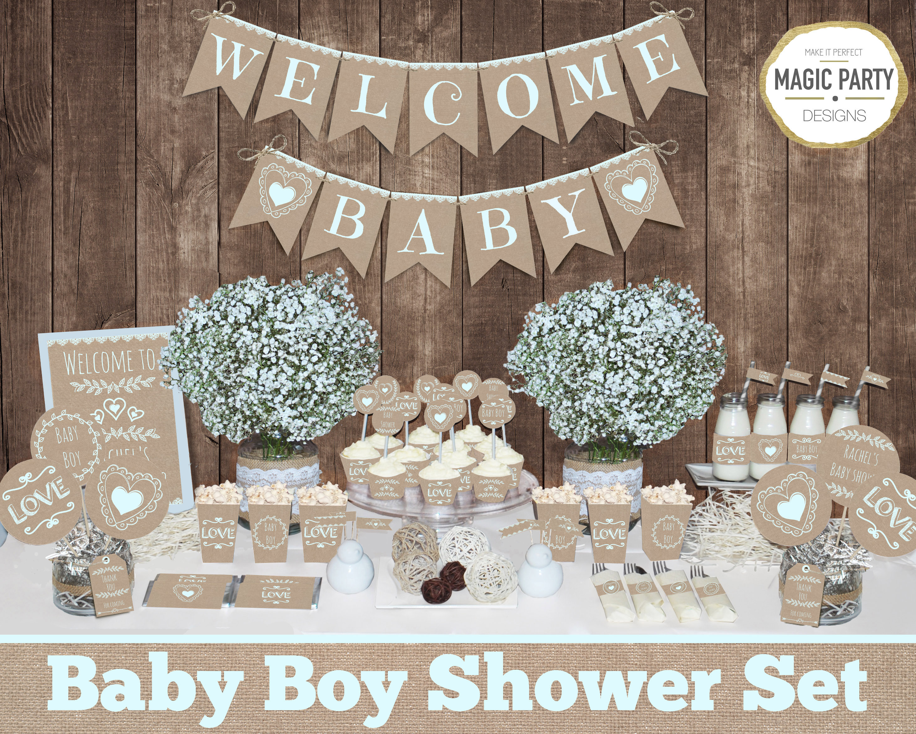 Rustic Baby Shower Decorations Printable Boy