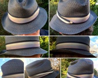 Super Stylish 1930s/40s Black Straw Trilby Hat!