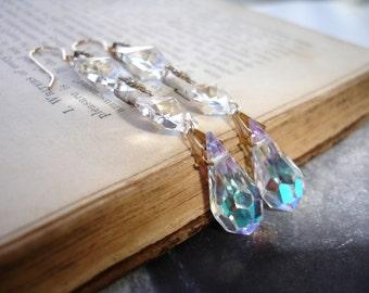 Bridal Vintage Chandelier Crystal Earrings, Vintage AB Swarovski Drops, Gold Fill, Dangle Earrings, Wedding, Romantic, Elegant