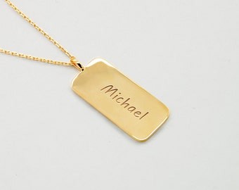 Personalized Dog Tag, 14k Gold Custom Dog Tag Necklace, Mens Jewelry, Mens Gold Necklace, Daddy Necklace, Anniversary Gift for Men