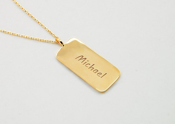 Personalized Dog Tag 14k Gold Custom Dog Tag Necklace Mens