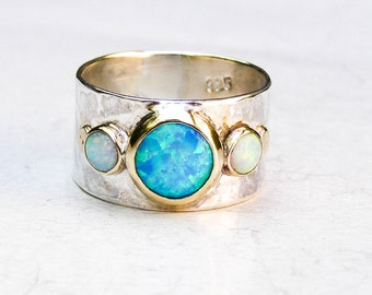 Unique Engagement Ring, Opal Ring, Gold and Silver, Hammered silver sterling, Multistone Rings, Gemstone Ring, Engagement Ring, Anniversary