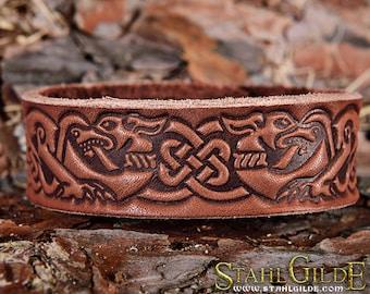 Viking bracelet Leather Bracelet Cuff Wristband Celtic Knotwork Celtic Hounds Vikings Nordic Talisman Amulet