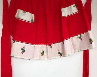 Vintage Christmas apron, Red and white with holiday details