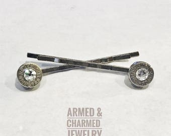 Bullet Hairpin- Bobby Pins- Set of Two- Swarovski Crystal Elements- 9mm Bullet Slices- Bridal Gifts