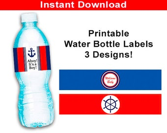 Ahoy Its A Boy Water Bottle Labels, Bottle Wraps, Nautical Baby Shower - Printable Ahoy Boys Baby Shower Favor Decorations, Instant Download