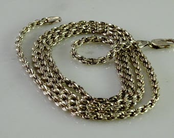 """Sterling Rope Chain 34"""" 1/8"""" wide"""