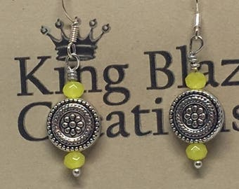 E1856: Antiqued Silver Disk Dangle Earrings with Yellow Czech Crystal Beads