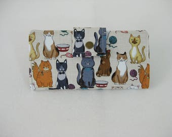 Cat Wallet,  Womens Wallet, Handmade Ladies Clutch, Animal Wallet, Cat Lover Gift, Travel Wallet
