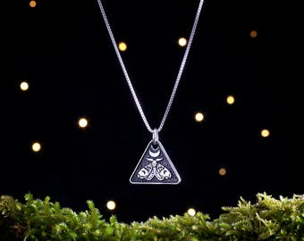 Sterling Silver Moon Moth, Death's Head  Hawkmoth - (Pendant, Necklace or Earrings)