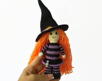 Witch doll Crochet halloween Knit witch Decor Halloween Witch hat toy Gift Halloween child Soft witch Amigurumi witch Home decor Halloween