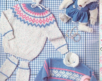 KNIT - Baby Winter Clothes Knitting Pattern - Baby Sweater Pattern - Baby Hat Knitting Pattern - Fairytale DK - Patons 488