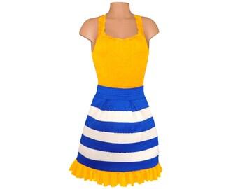 Yellow + Blue Stripe Scuba Skirt
